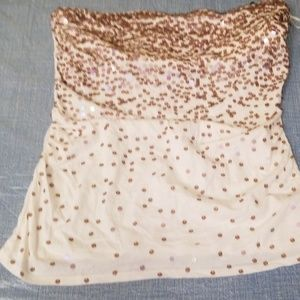 Express strapless top with sequins